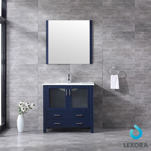 "Volez 36"" Navy Blue Single Vanity Integrated Top Sink & 34"" Wall Mirror LV341836SEESM34"