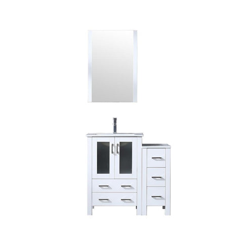 "Volez 36"" Single Bathroom Vanity w/ Side Cabinet Top Square Sink & 22"" Mirror LV341836SAESM22"