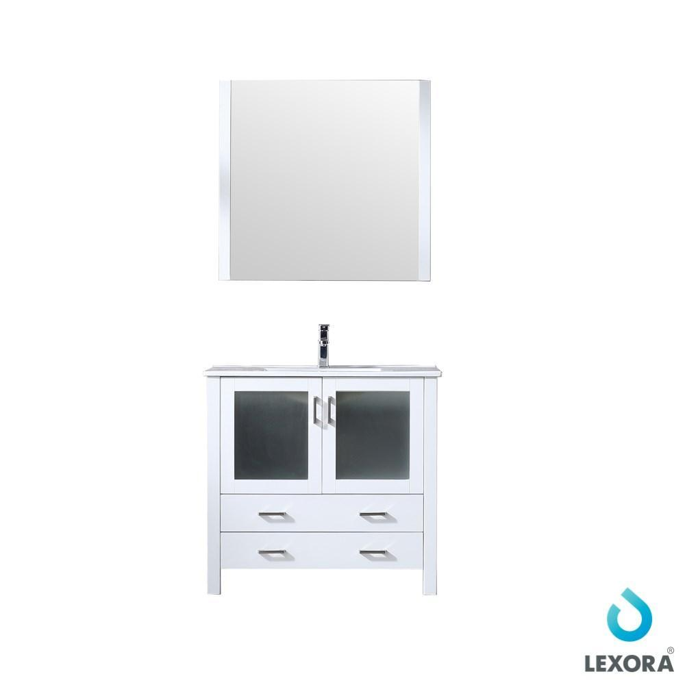 "Volez 36"" Single Vanity Cabinet Integrated Top Integrated Sink & 34"" Wall Mirror LV341836SAESM34"
