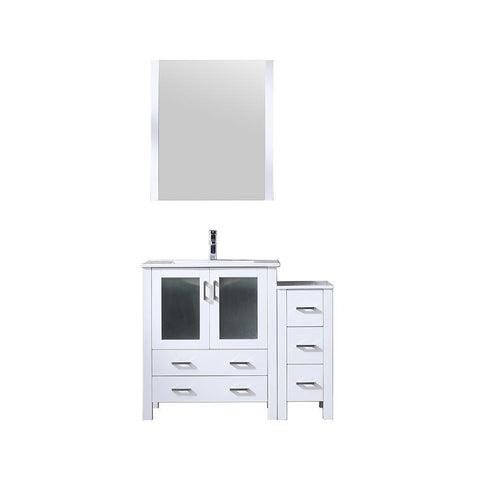 "Image of Volez 42"" Single Bathroom Vanity w/ Side Cabinet Top Square Sink & 28"" Mirror LV341842SAESM28"