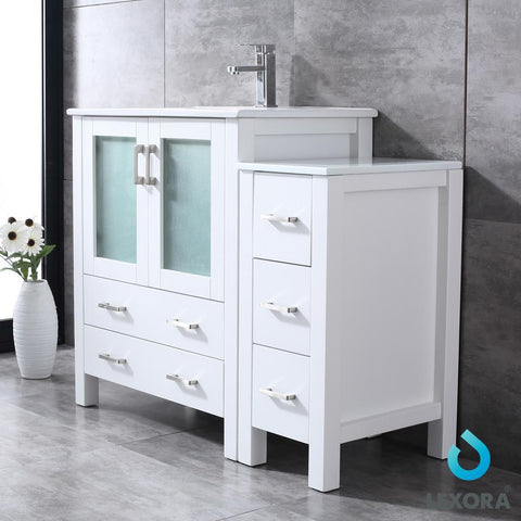 "Volez 42"" Single Bathroom Vanity w/ Side Cabinet Top Square Sink & 28"" Mirror LV341842SAESM28"