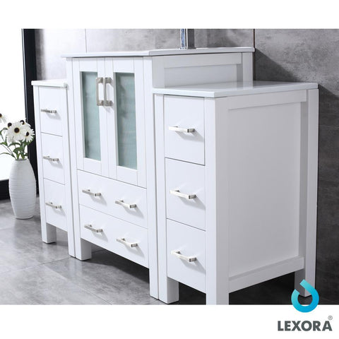 "Volez 48"" Single Bathroom Vanity w/ 2 Side Cabinets Top Square Sink & 22"" Mirror LV341848SAESM22"