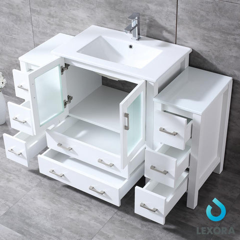 "Volez 54"" Single Bathroom Vanity w/ 2 Side Cabinets Top Square Sink & 28"" Mirror LV341854SAESM28"