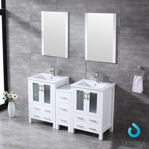 "Volez 60"" Double Bathroom Vanity w/ Side Cabinet Top Square Sink & 22"" Mirrors LV341860SAESM22"