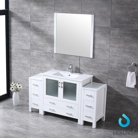 "Volez 60"" Single Bathroom Vanity w/ 2 Side Cabinets Top Square Sink & 34"" Mirror LV341860SAESM34"