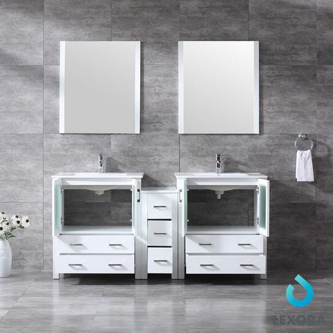 "Image of Volez 72"" Double Bathroom Vanity w/ Side Cabinet Top Square Sink & 28"" Mirrors LV341872SAESM28"