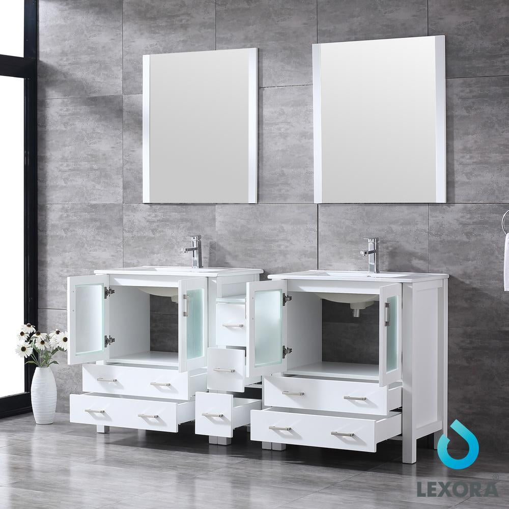 "Volez 72"" Double Bathroom Vanity w/ Side Cabinet Top Square Sink & 28"" Mirrors LV341872SAESM28"