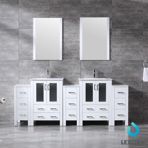 "Volez 84"" Double Bathroom Vanity w/ 3 Side Cabinets Top Square Sink & 22"" Mirror LV341884SAESM22"