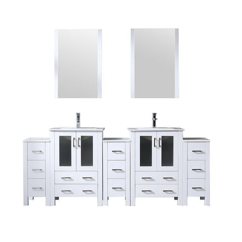 "Image of Volez 84"" Double Bathroom Vanity w/ 3 Side Cabinets Top Square Sink & 22"" Mirror LV341884SAESM22"