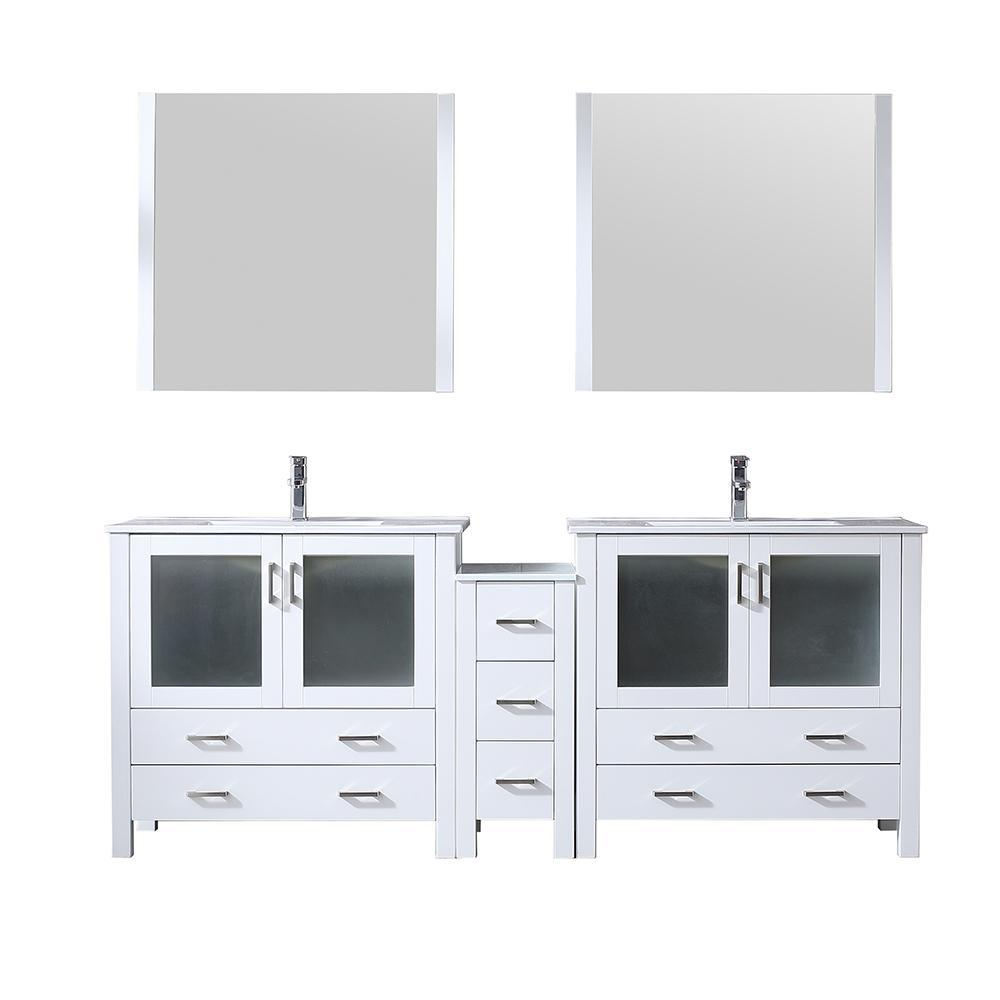 "Volez 84"" Double Bathroom Vanity w/ Side Cabinet Top Square Sink & 34"" Mirrors LV341884SAESM34"