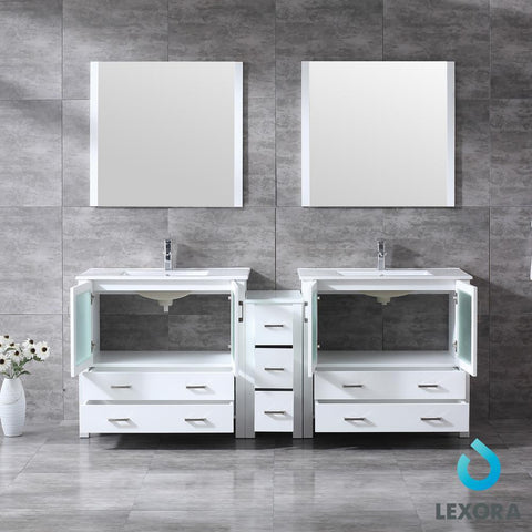 "Image of Volez 84"" Double Bathroom Vanity w/ Side Cabinet Top Square Sink & 34"" Mirrors LV341884SAESM34"
