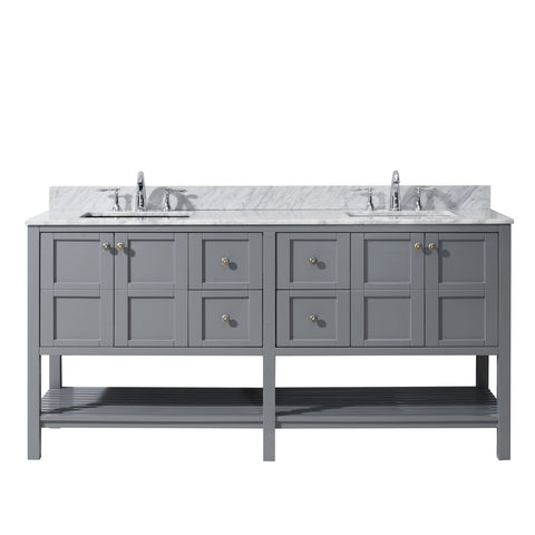 "Winterfell 72"" Double Bathroom Vanity ED-30072-WMSQ-GR-NM"