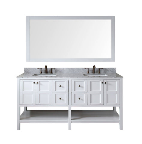 "Winterfell 72"" Double Bathroom Vanity ED-30072-WMSQ-WH"