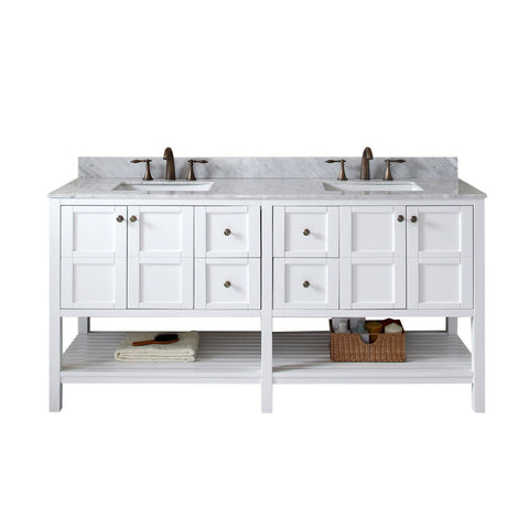 "Winterfell 72"" Double Bathroom Vanity ED-30072-WMSQ-WH-NM"