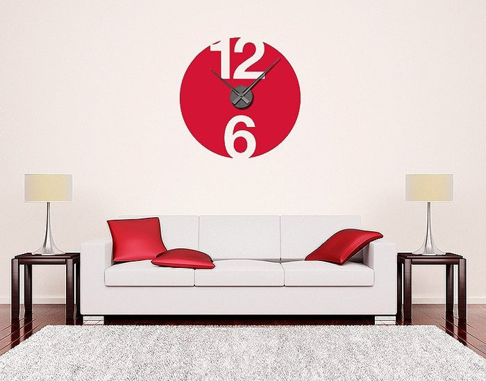 12 and 6 Wall Decal Clock
