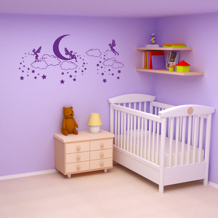 Goodnight Fairies Spreading Dream Stars Wall Decal