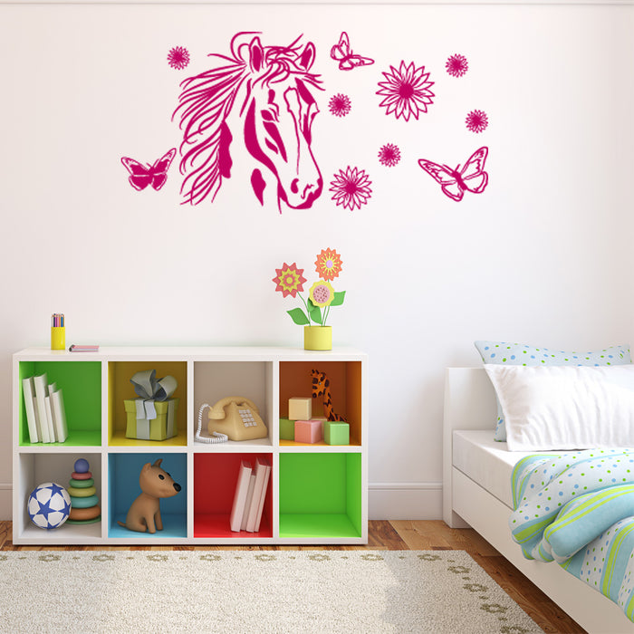 Flower Horse Wall Decal