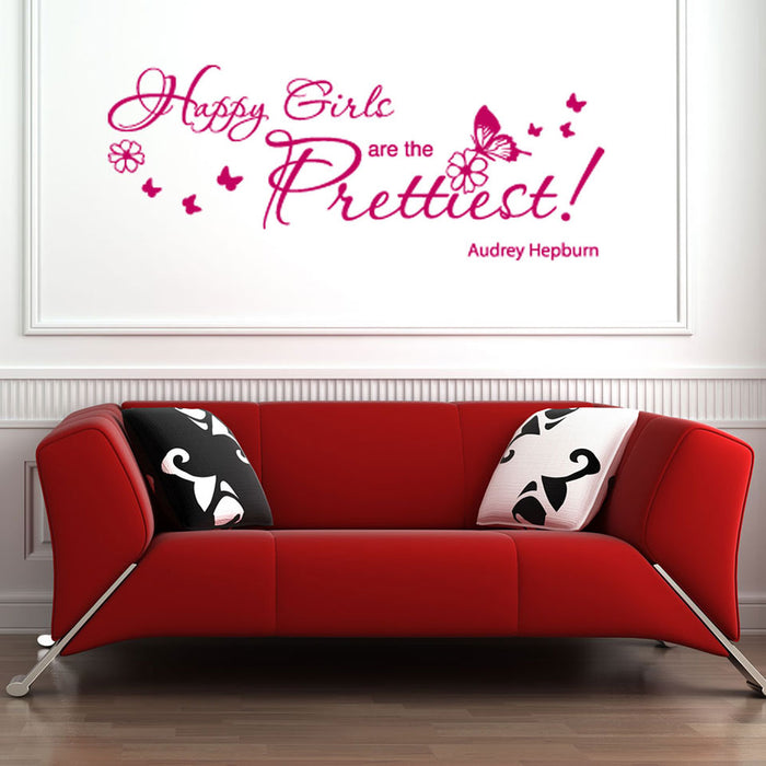 Happy Girls Wall Decal Quote