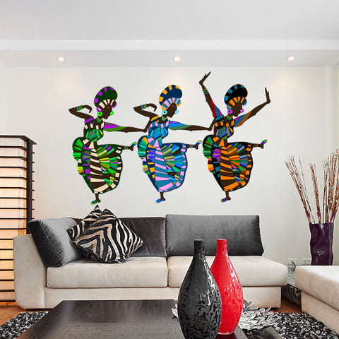 African Art Dancers Wall Decal Sticker