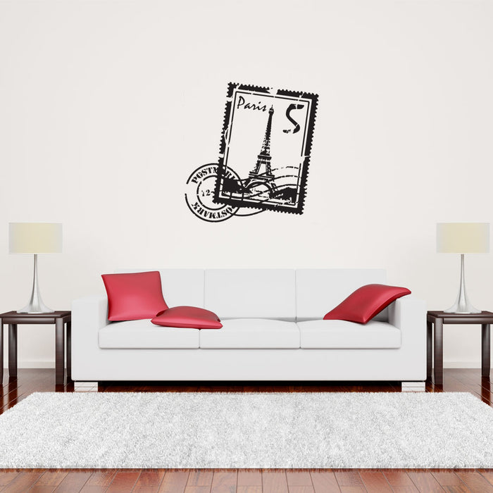 Paris Stamp Wall Decal With Eiffel Tower