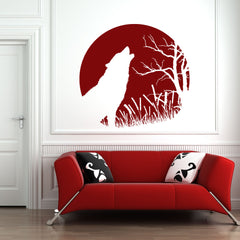 Howling Wolf Decal-Wall Decals-Style and Apply