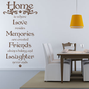 Home is where Love resides Memories are created Friends always belong and Laughter never ends wall decal quote