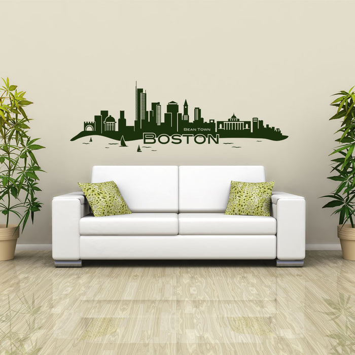 Boston City Skyline Wall Decal