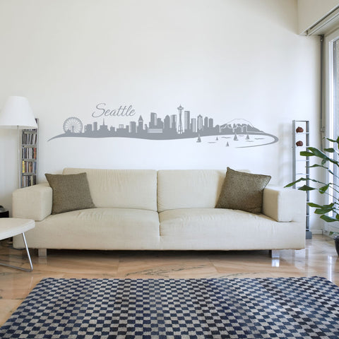Seattle Skyline Decal-Wall Decals-Style and Apply