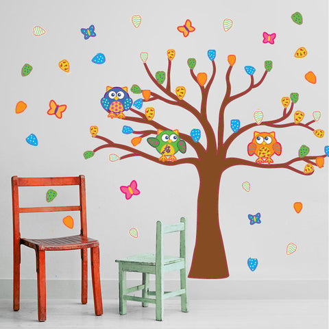 Colorful Owls tree-Wall Decal Stickers-Style and Apply