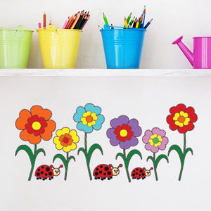 Colorful Sunflowers-Wall Decal Stickers-Style and Apply