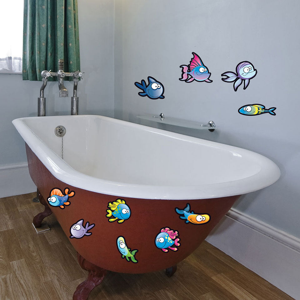 Cute Fish Set-Wall Decal Stickers-Style and Apply
