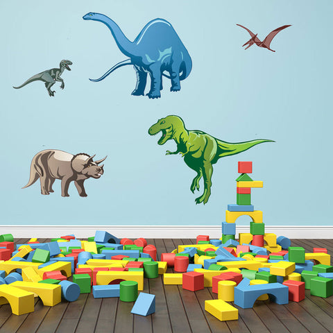 Colorful Dinosaur Set-Wall Decal Stickers-Style and Apply
