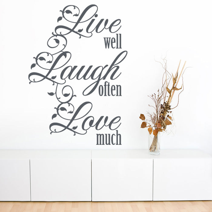 Live Well Wall Decal Quote