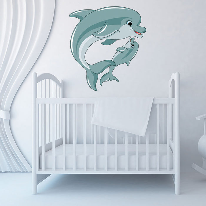 Mama and Baby Dolphin Wall Decal