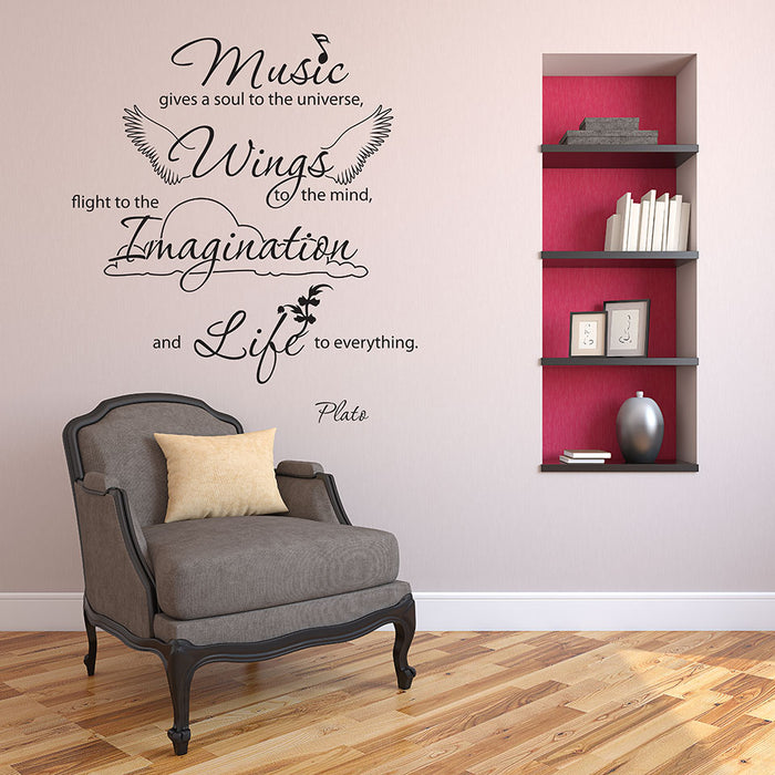 Music Gives Soul Wall Decal Quote