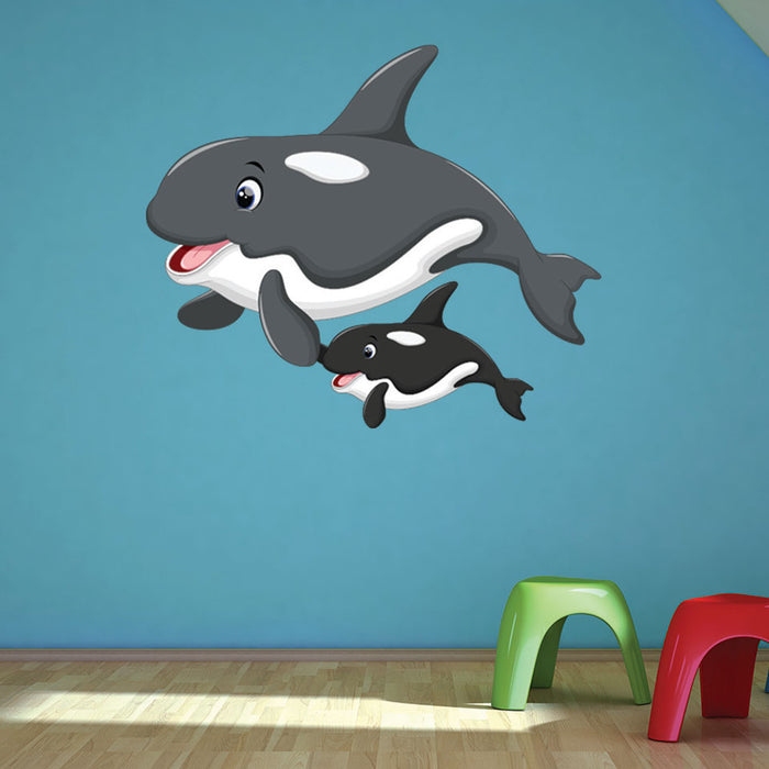 Orca Mama and Baby Wall Decal