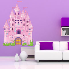 Pink Fairy Tale Castle-Wall Decal Stickers-Style and Apply