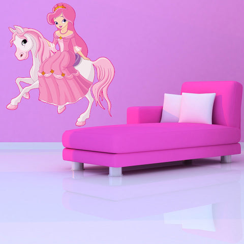 Princess and Horse-Wall Decal Stickers-Style and Apply
