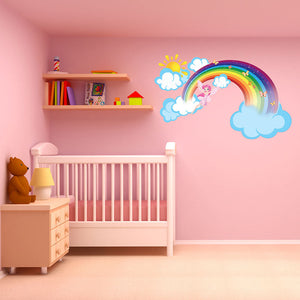 Rainbow fairy wall decal sticker with clouds AND SUN