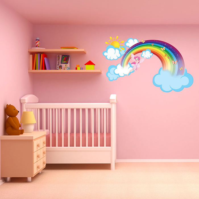Rainbow Fairy Wall Decal with Clouds and Sun