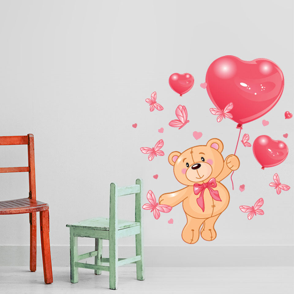 Teddy Bear with heart balloons-Wall Decal Stickers-Style and Apply