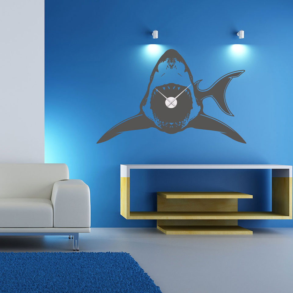 Shark Wall Clock-Wall Decal Clocks-Style and Apply