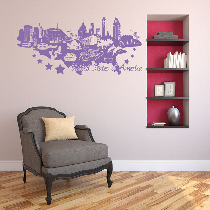 United States Of America Map Wall Decal