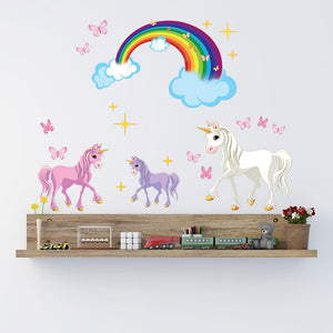 3 unicorns wall decal