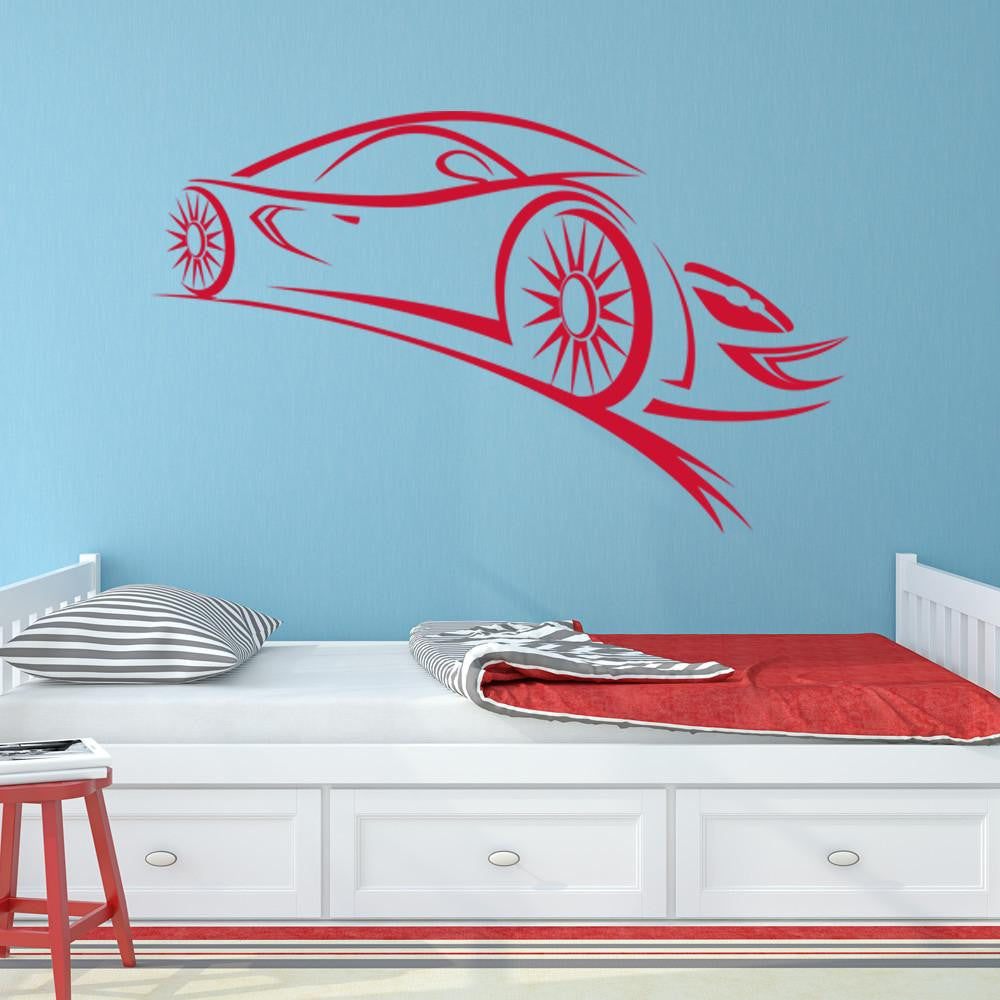 Perfect Abstract Sports Car Wall Decal