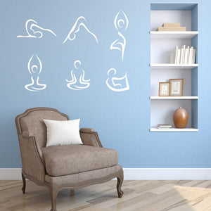 Abstract Yoga Poses Wall Decal