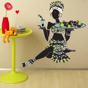 African Woman with Fruits-Wall Decal Sticker