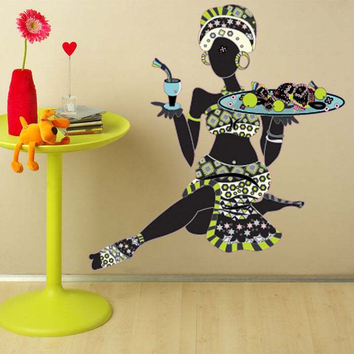 African Woman with Fruits Wall Decal