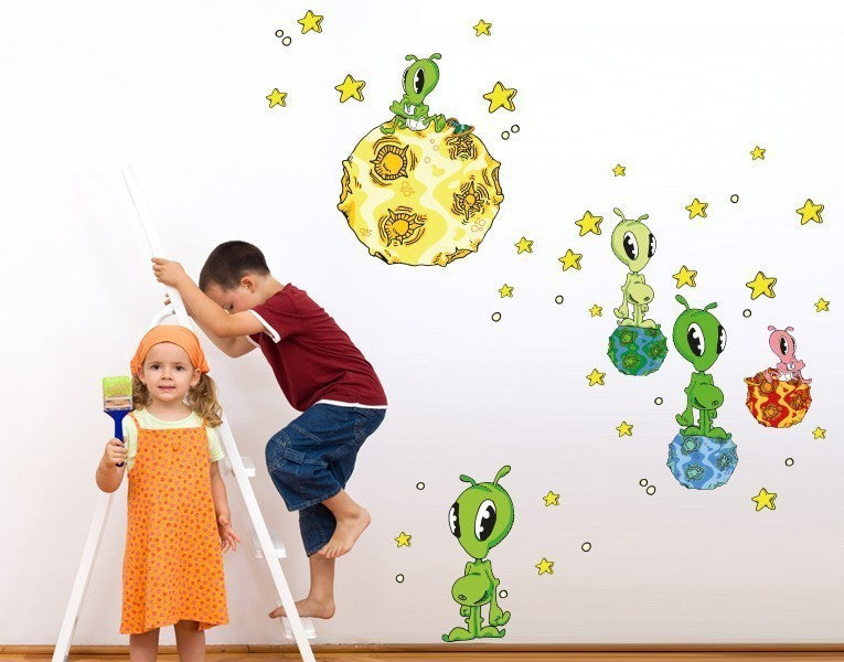 Alien Space Set Wall Decal-Wall Decal Stickers-Style and Apply