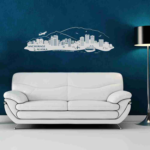 Anchorage-Alaska City Skyline Wall Decal-Wall Decals-Style and Apply